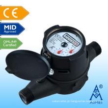 Medidor de água plástico meados Certificated Multi Jet tipo seco