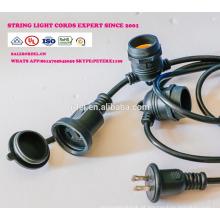 Luzes de corda ao ar livre à prova de intempéries - Listado no UL - 15 soquetes suspensos - Luzes de pátio perfeitas - Preto - 16 11S14 UL