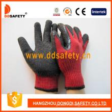 Algodón / Poliéster Liner Crinkler guante de látex (DKL331)