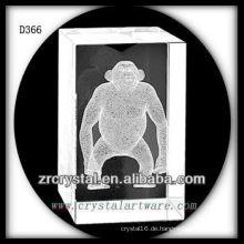 K9 3D Subsurface Orang-Utan im Kristall-Rechteck