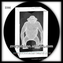 K9 3D Orangutan subsuperficial dentro do retângulo de cristal