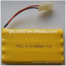 Batterie rechargeable Ni-Cd AA500mAh 9.6V pour les jouets Batterie rechargeable Ni-Cd AA500mAh 9.6V pour les jouets
