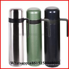 Flacon thermo de double paroi d'acier inoxydable avec la poignée de paille 1000ml OEM de bouteille de thermos portative de thermos accueilli