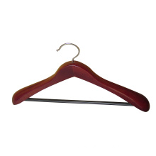 Mahogany Suit Coat Hanger with Rounded Bar for Pants