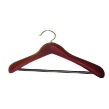 Cabide de roupa mogno com barra arredondada para calças