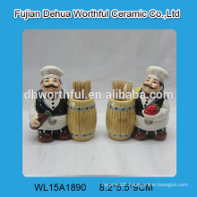 2016 new style ceramic toothpick holder in chef shape