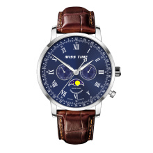stainless steel back soft genuine leather strap quartz watch