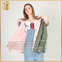 Европейский стиль моды OEM-сервис Пользовательские реальные толстые женщины Fur Parka