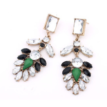 Hot sale Fashion elegant alloy resin and acrylic flower shape long drop earrings for women wholesale jewelry