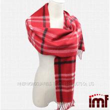 Cachecol de lã de caxemira tecido lenço de manta tartan vermelho