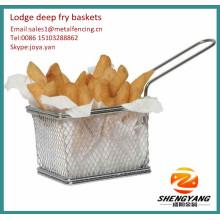 2014 KFC angewendet Chicken Nuggets konische Körbe Edelstahlgewebe verstärkte Chips Körbe Lodge Frittierkörbe