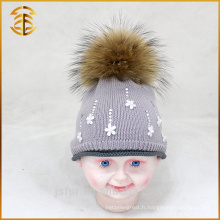 Genuine Raccoon Pompom Cotton Kids Tricoté Bébé Bobble Hat personnalisé