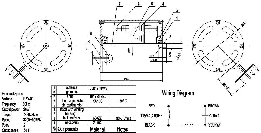 80AC-01 single phase ac motor/ high efficiency 115VAC or 230VAC or 220-240VAC