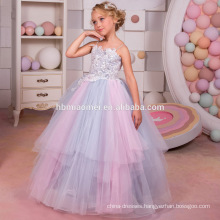 2017 New Arrival High Quality Colorful Lace Appliques Spaghetti Straps Custom Made Floor Length Flower Girl Dress