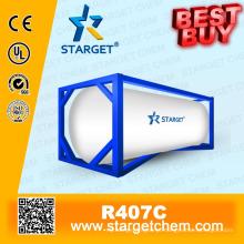 Refrigerante de alta pureza R407c melhor comprar no tanque Iso para refrigeração de refrigeração A / C