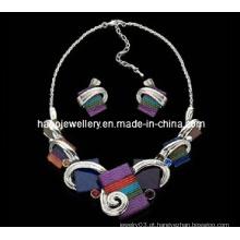 Conjunto de colar de jóias de pedra quadrado de moda (xjw13219)