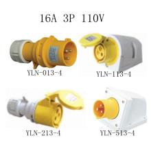 Plugue e soquete elétricos amarelos de 16A 110V