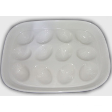 Bandeja de ovos de cerâmica branca titular-segurar 12 bandeja