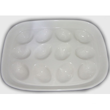 Ceramic White Egg Tray Holder-Hold 12 Tray