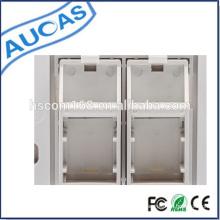 2 / Plat double à double port / Plaque rallonge RJ45 / Platine quadrante Quad 2 RJ45 Plaque murale