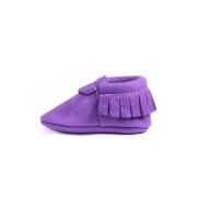 Venta al por mayor calidad real cuero púrpura mocasines zapatos bebé