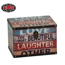 English Letter PU Gift Wooden Box