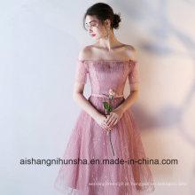 Pescoço de barco sexy com mangas de boné rosa curto vestidos de dama de honra