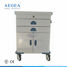 AG-ET017 Hospital patient treatment powder coating steel clinic emergency medical storage trolleys