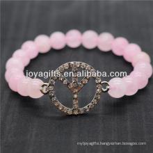 Diamante Peace Logo With 8MM Semi Precious Stone Stretch Bracelet