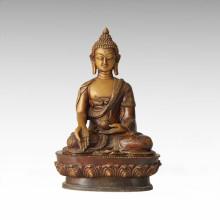 Statue de Bouddha Sakyamuni Sculpture Bronze Sphère Tpfx-B43