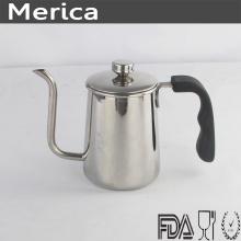 Pote de café de aço inoxidável com alça preta