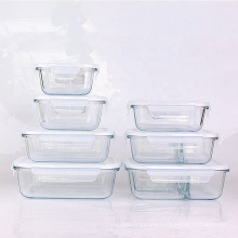 Factory drict offer High Meal Prep Airtight borosilicate glass food storage container glass lunch box with lock lids