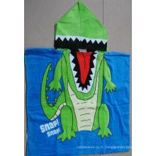 (BC-PB1016) Bonne qualité 100% coton imprimé poncho de plage pour enfants