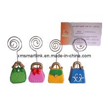 Lady′s Handbag Shape Name Card Holder, Business Card Clip