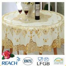 Mantel redondo del oro 180cl del cordón del PVC Wedding / Party