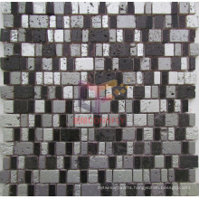 Black and Silver Mixed Color Resin Mosaic Tiles (CSR081)