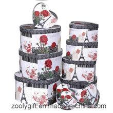 12 juegos de impresión de la flor en forma de corazón joyas caja de almacenamiento de regalo