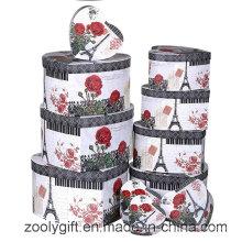 12 комплектов цветочной печати Heart Shaped Jewelry Gift Box для хранения