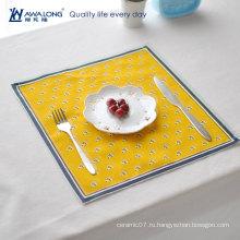 Квадратный ужин столовой / изысканный дизайн ткани есть коврик / хороший льняной обед подушки