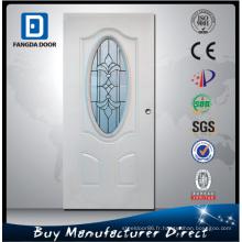 Porte en verre en acier Fangda en blanc apprêté, ornée de verre trempé, meilleure que la porte en bois massif sculpté