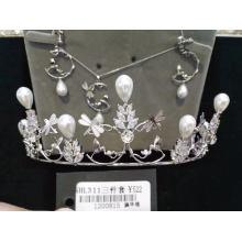 Hochzeit Braut 3 Sets Halskette Krone Ohrring