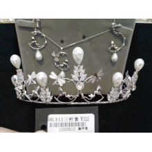 Wedding Bridal 3 Sets Necklace Crown Earring