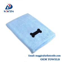 Toalla de secado de la microfibra de la alta absorción de agua 400gsm, toalla del animal doméstico de la microfibra con el logotipo del bordado