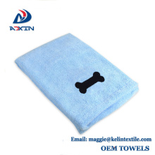 High Water absorption 400gsm microfiber drying towel, Microfiber pet towel with embroidery logo