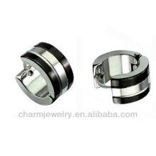 Stainless steel two tone hinged snap huggie earrings Black Edges Men's Earring HE-026