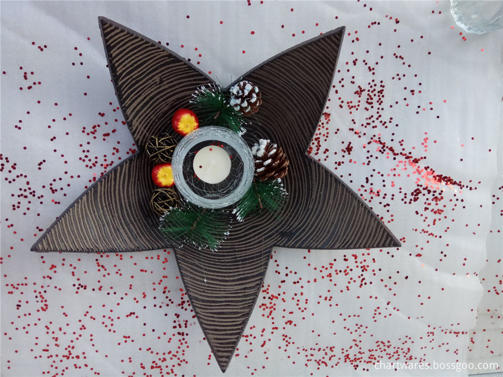 star shape wooden canlde sticker