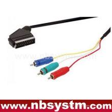 Conector Scart para o cabo rgb componente rca 3x