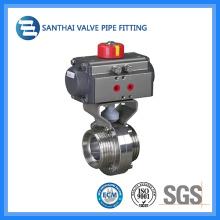 Sanitária Aço Inoxidável 304 316L Válvula Borboleta, Operação Manual / Pneumática