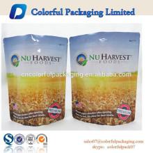 Embalagem de grãos de grau alimentício personalizado stand up zip fecha saco