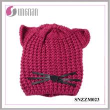 Casco hecho punto creativo caliente de alta calidad del sombrero del oído del gato (SNZZM023)